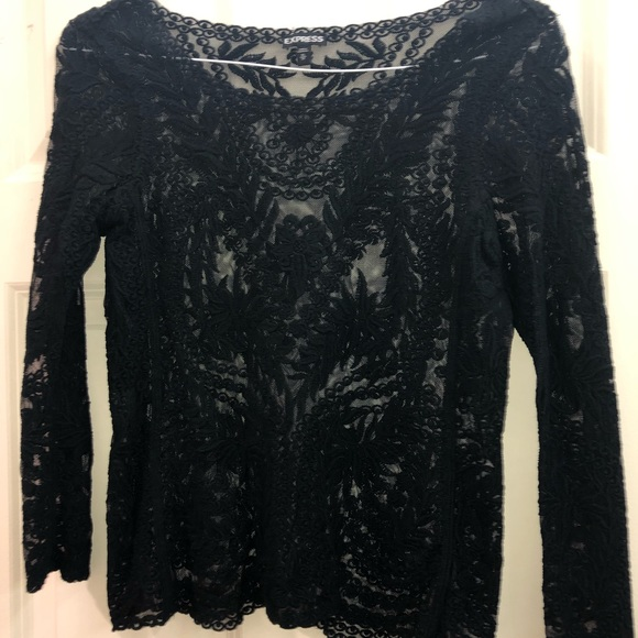 Express Tops - Long sleeve black lace top